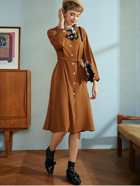 outfit Button Up Side Slits Belted Solid Dress - CHOCOLATE ONE SIZE