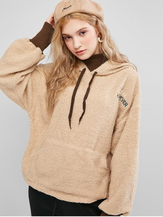 trendy Drawstring Front Pocket Embroidered Teddy Hoodie - LIGHT KHAKI ONE SIZE