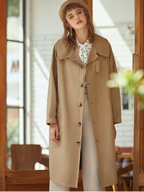 online D-ring Trench Coat - DARK KHAKI ONE SIZE