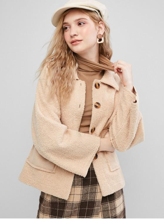 women Faux Shearling Flap Pocket Fluffy Teddy Jacket - LIGHT KHAKI M