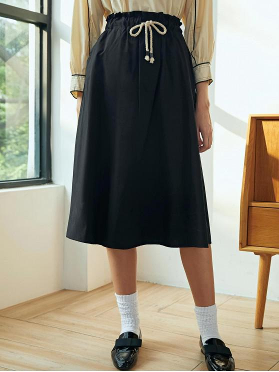fancy Drawstring Cotton A Line Skirt - BLACK ONE SIZE
