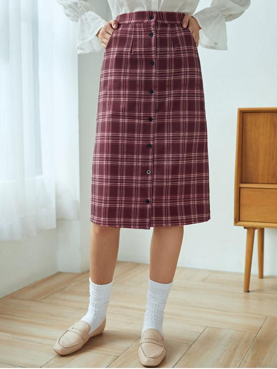 fashion Plaid Button Up Skirt - RED WINE L