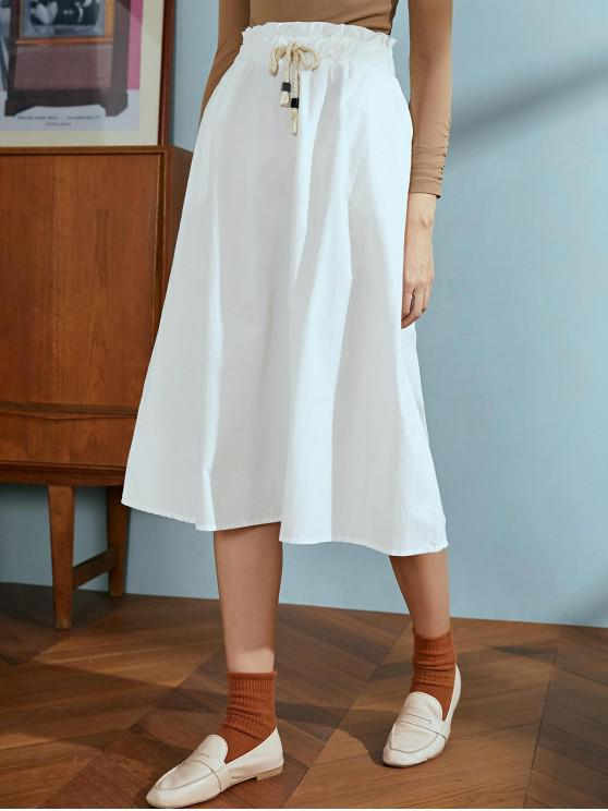 lady Drawstring Cotton A Line Skirt - WHITE ONE SIZE