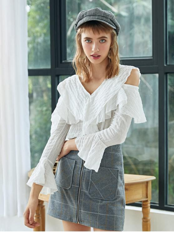 outfits Button Up Ruffles Cold Shoulder Top - WHITE ONE SIZE