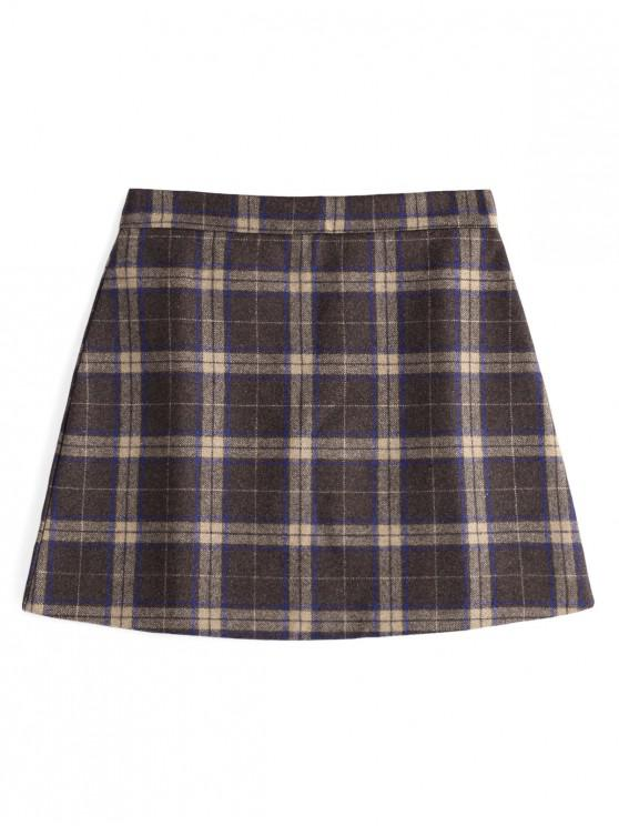 lady Checked Wool Blend Skirt - COFFEE S
