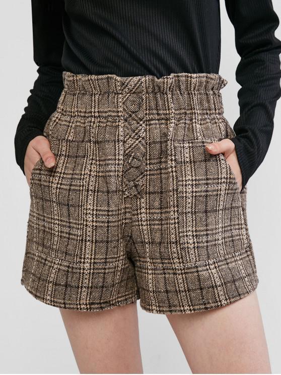 Îngustată Pocket Plaid mari Pantaloni scurți - Maro deschis L