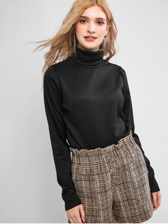 womens Solid Ribbed Turtleneck Knitwear - BLACK XL