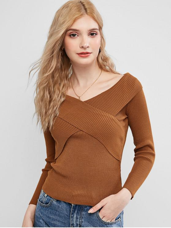 women's Crossover Ribbed Slim Sweater - BROWN ONE SIZE