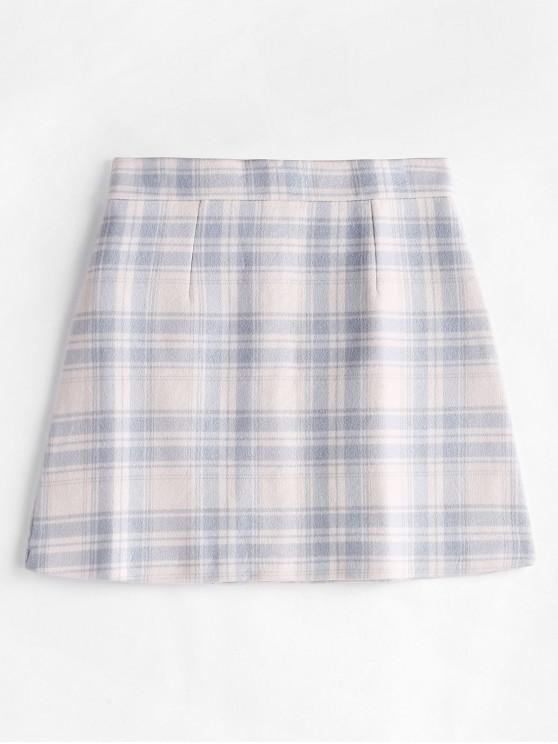 womens Plaid Wool Blend Mini Skirt - WARM WHITE XL