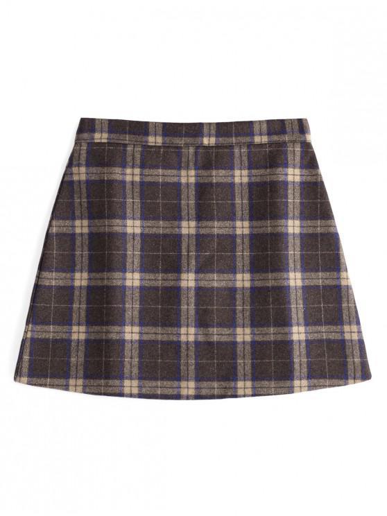 ladies Checked Wool Blend Skirt - COFFEE M