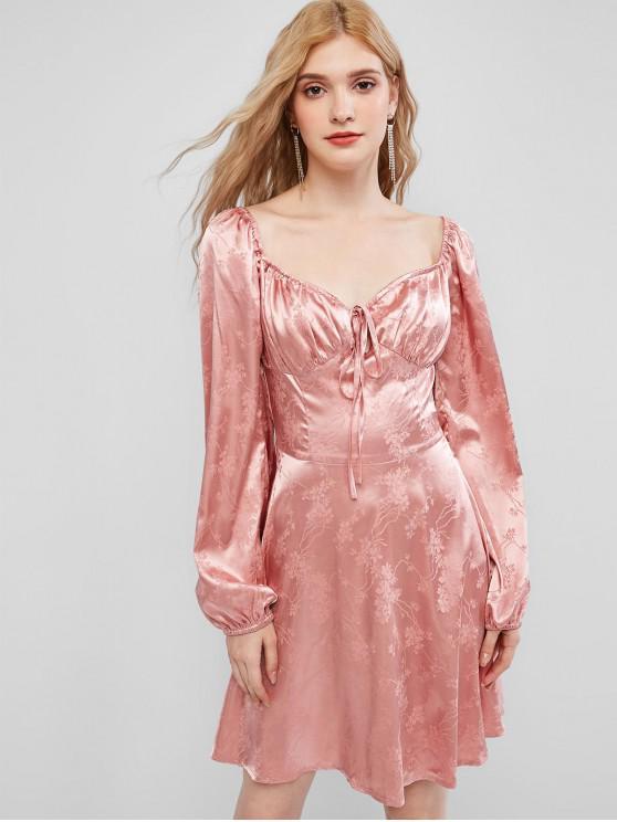 ZAFUL Floral Jacquard Iubito Mini Dress - Trandafir roz L