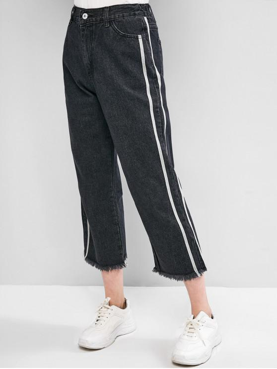 trendy Pocket Taped Wide Leg Zip Fly Jeans - BLACK 2XL