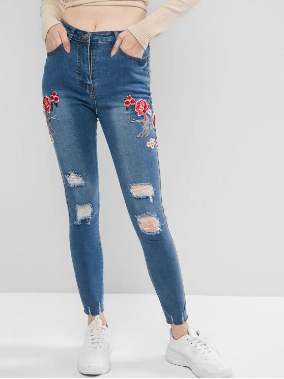 outfits Floral Bird Embroidered Ripped Skinny Jeans - BLUE M