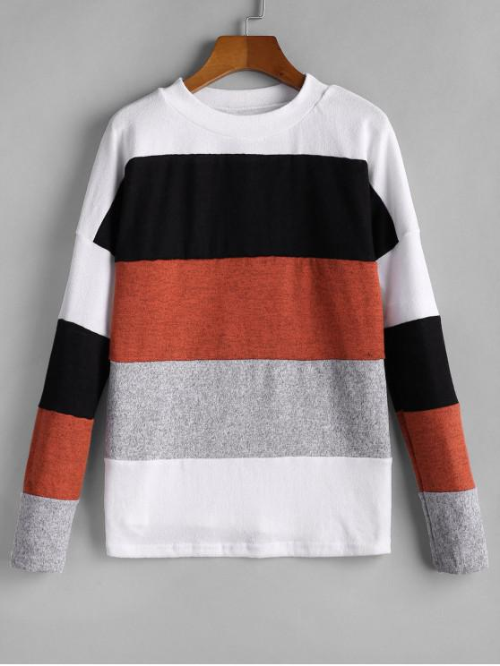 shops Color-blocking Drop Shoulder Knitwear - MULTI-A XL