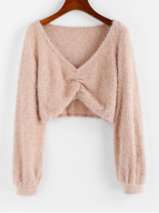 chic ZAFUL Fluffy Ruched Cropped Sweater - ROSE L