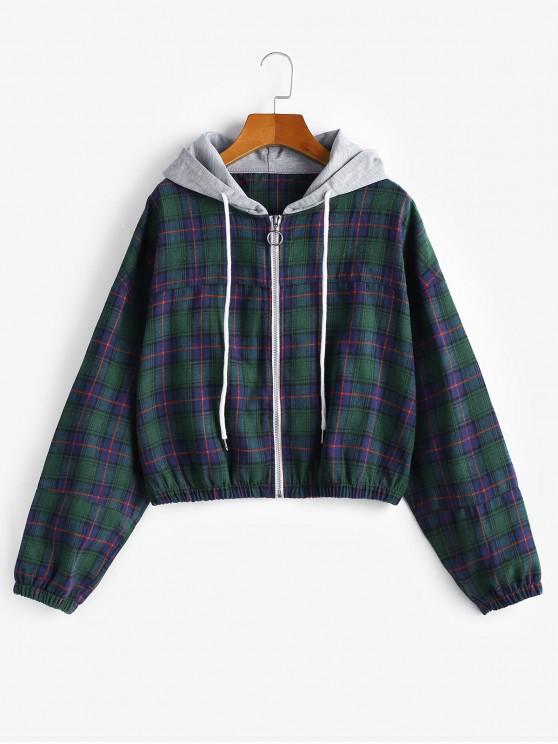 fashion Zip Up Plaid Drawstring Hoodie - GREEN M