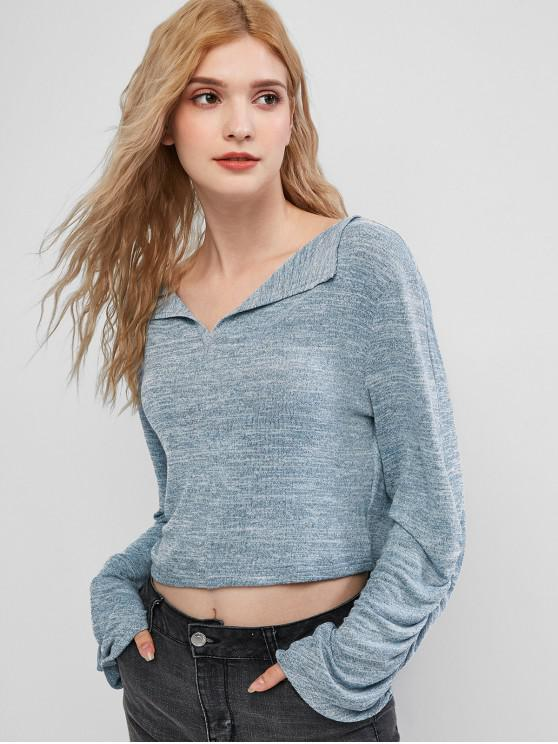 lady ZAFUL Gathered Sleeve Heathered Pullover Knitwear - BLUE GRAY XL