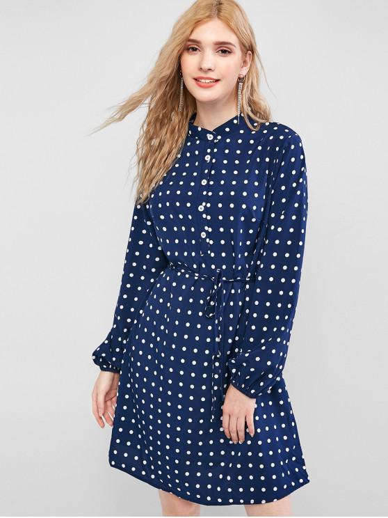 lady Polka Dot Button Placket Shirt Dress - DEEP BLUE M