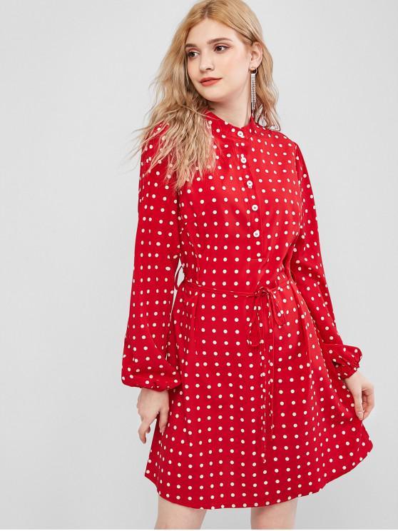 chic Polka Dot Button Placket Shirt Dress - RED S