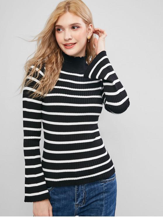 women's Ruffled Collar Flare Sleeve Stripes Slim Sweater - BLACK ONE SIZE