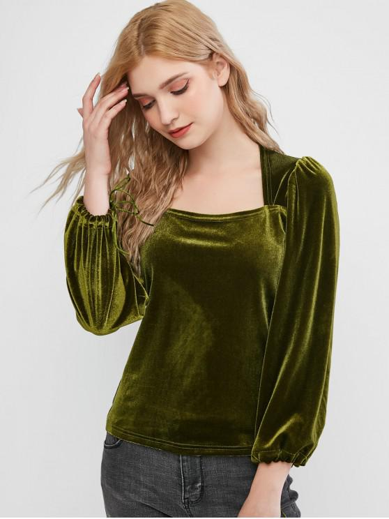 outfit Velvet Square Neck Tie Cuff Top - FERN GREEN M