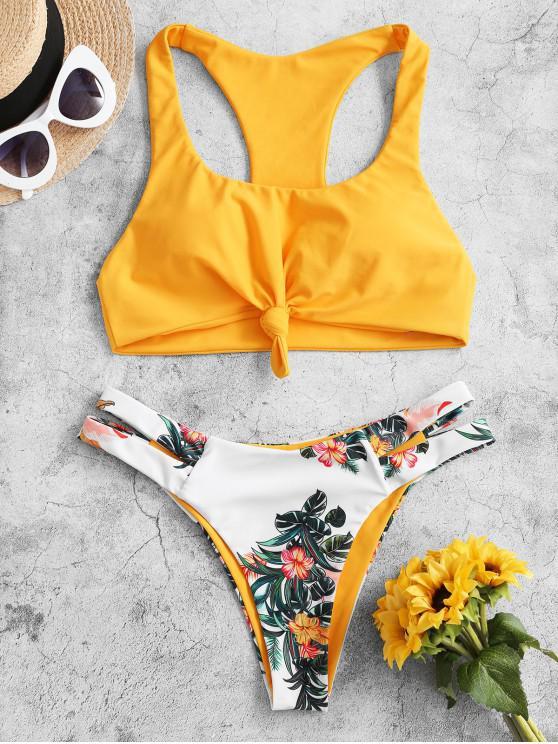 ZAFUL Plant Print Nodul Racerback Bikini Swimsuit - Cauciuc galben galben L