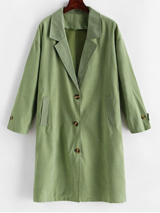 chic Notch Lapel Drop Shoulder Pocket Trench Coat - GREEN XL