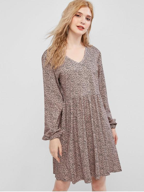online Leopard Smock Dress - APRICOT L