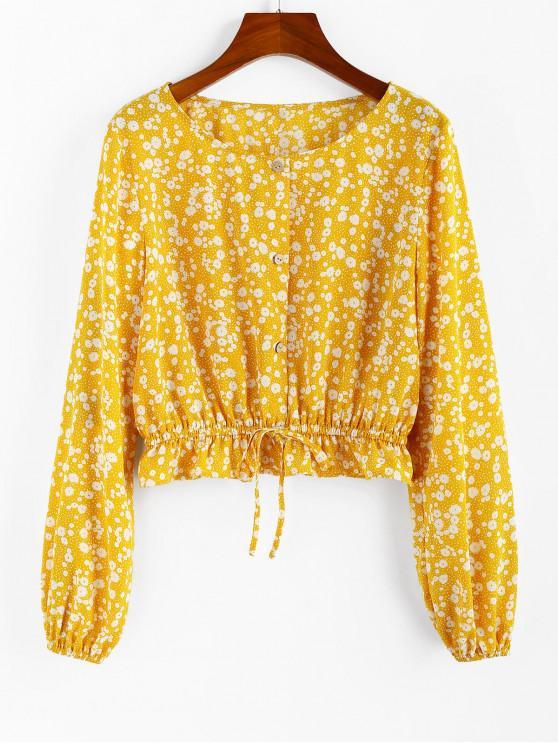 ZAFUL Цветочный принт Талия со шнуровкой С оборкой Блузка - Резиновая душка-желтый S