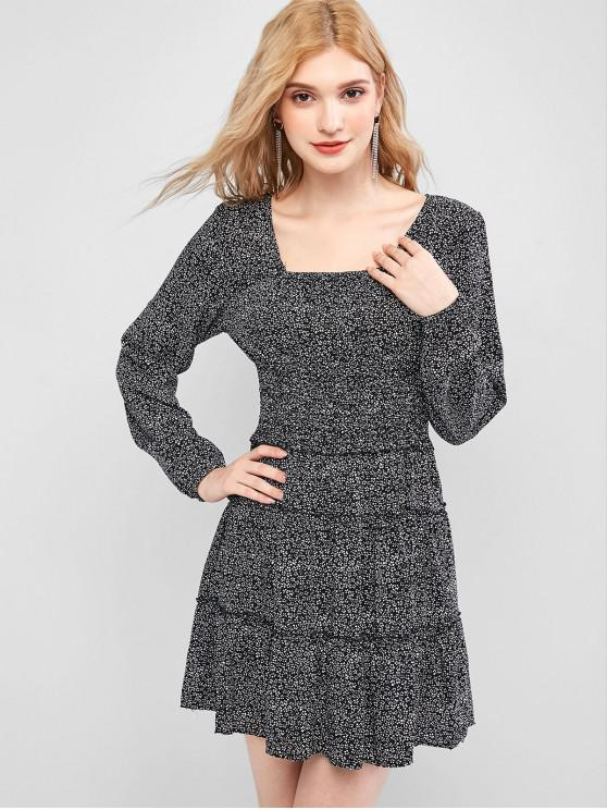 fashion Ditsy Print Shirred Waist Milkmaid Dress - BLACK L