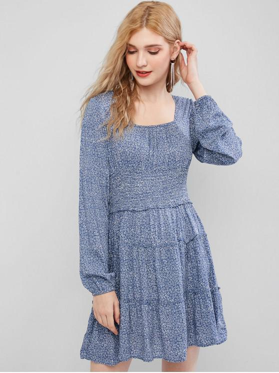 chic Ditsy Print Shirred Waist Milkmaid Dress - BLUE M