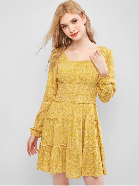 Ditsy Stampa arricciato vita Lattaia Dress - Giallo L