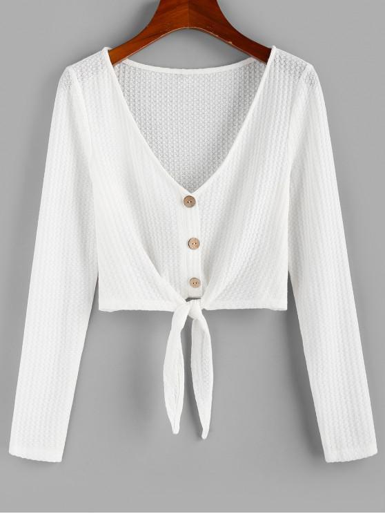 womens ZAFUL Buttons Tie Hem Plunging Crop T-shirt - MILK WHITE S