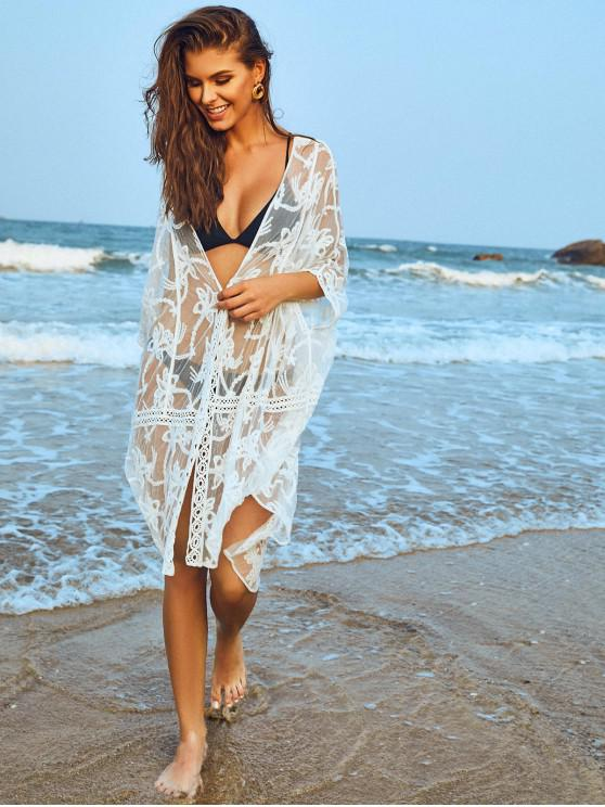 affordable Embroidered Sheer Mesh Batwing Beach Cover-up - WHITE ONE SIZE
