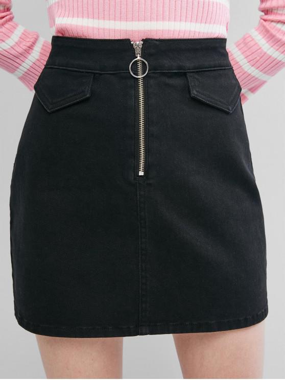 sale ZAFUL Front Zip Back Pockets Denim Mini Skirt - BLACK M