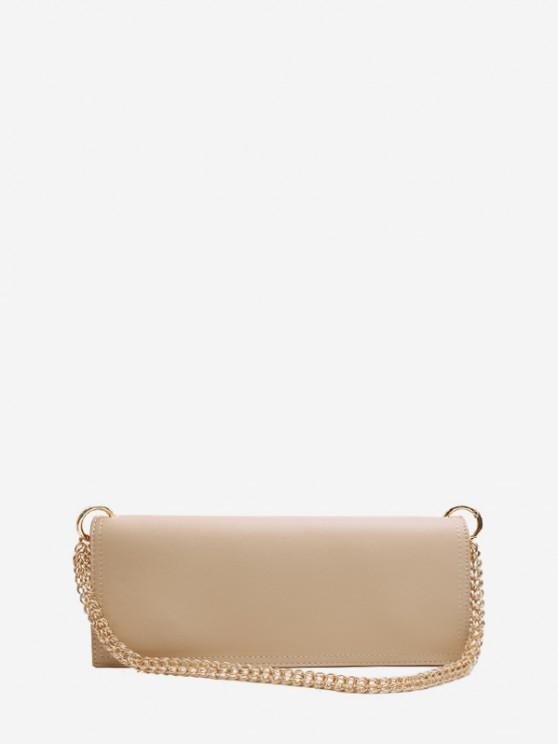 shop Long Solid Chain Shoulder Bag - LIGHT KHAKI