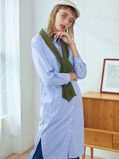 Striped Step Hem Slit Chest Pocket Midi Shirt Dress - Day Sky Blue L