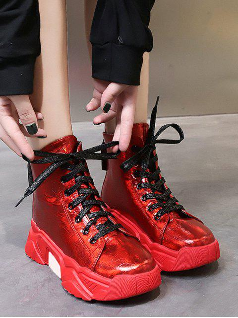 chic Patent Leather Platform High Top Fleece Shoes - RED EU 37 Mobile