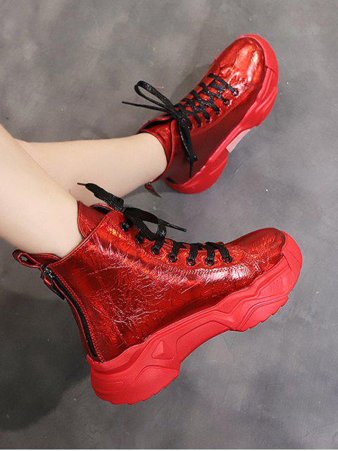 lady Patent Leather Platform High Top Fleece Shoes - RED EU 39 Mobile