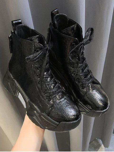 chic Patent Leather Platform High Top Fleece Shoes - BLACK EU 38 Mobile