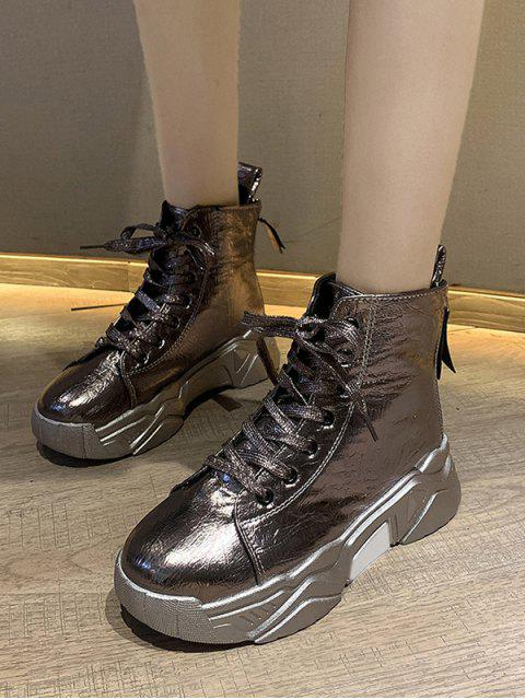 fancy Patent Leather Platform High Top Fleece Shoes - CHAMPAGNE GOLD EU 36 Mobile