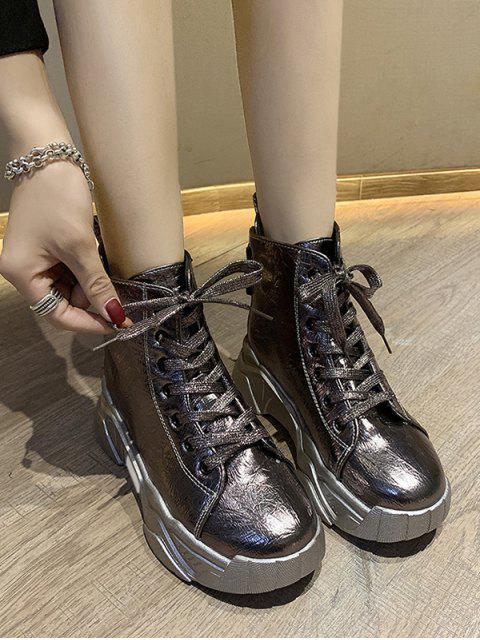 unique Patent Leather Platform High Top Fleece Shoes - CHAMPAGNE GOLD EU 38 Mobile