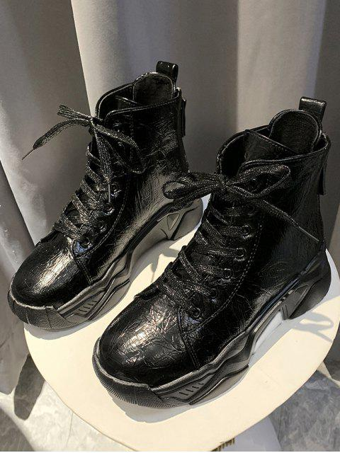 buy Patent Leather Platform High Top Fleece Shoes - BLACK EU 37 Mobile
