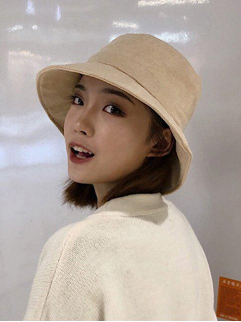 ladies Winter Solid Fabric Bucket Hat - BEIGE  Mobile