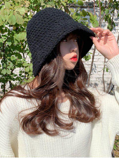 outfit Solid Color Cable Knitted Hat - BLACK  Mobile