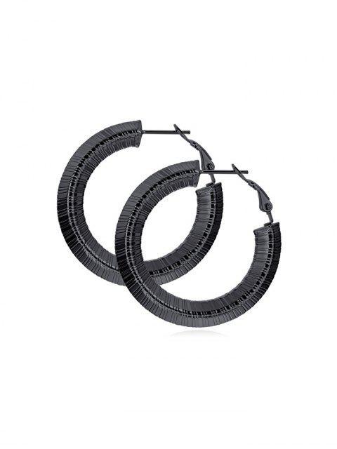 Шик Полосатый дизайн Сплав Серьги - Чёрный 25 мм Mobile