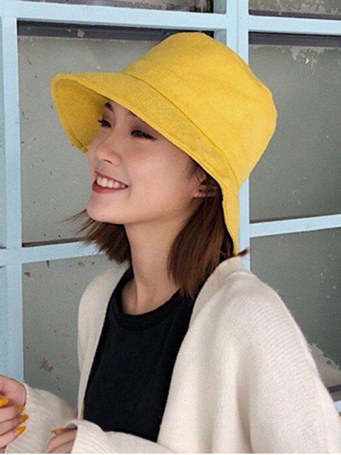 trendy Winter Solid Fabric Bucket Hat - YELLOW  Mobile