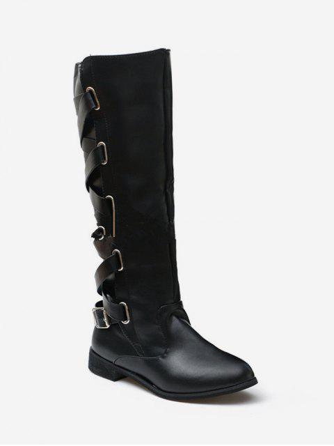 fashion Back Criss-cross Knight Fleece Knee High Boots - BLACK EU 43 Mobile