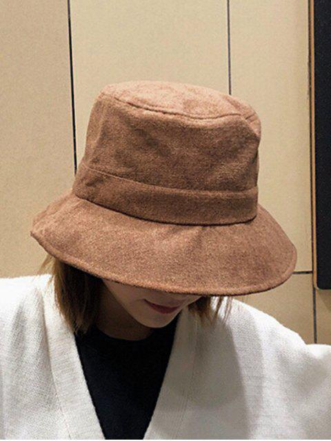 sale Winter Solid Fabric Bucket Hat - COFFEE  Mobile