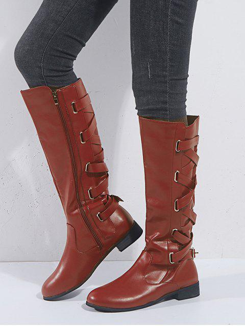 affordable Back Criss-cross Knight Fleece Knee High Boots - RED WINE EU 36 Mobile